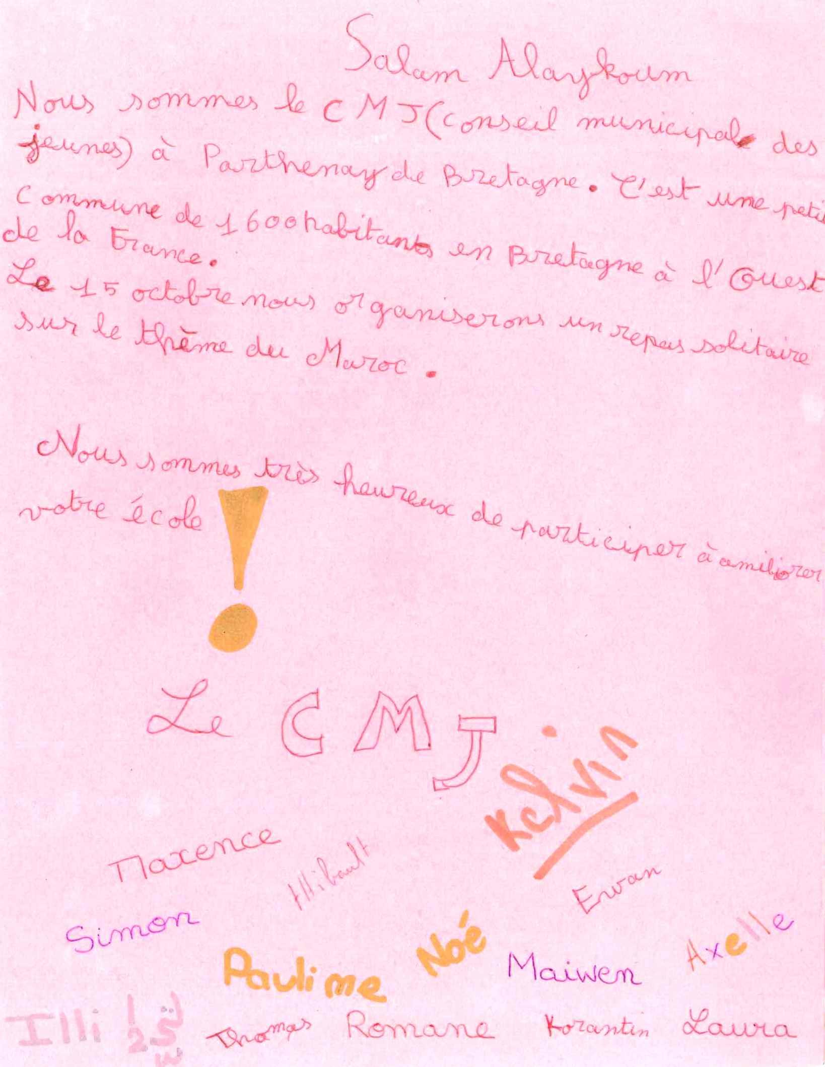 lettre du conseil municipal des jeunes
